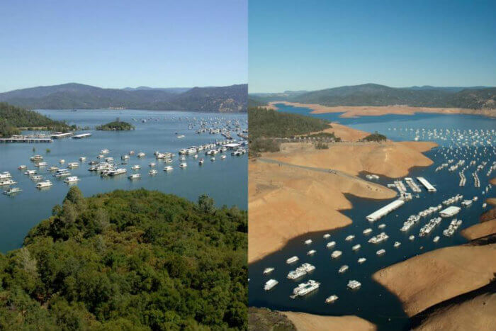 Estas fotos muestran cuánto se ha reducido el lago Oroville de California en solo tres años entre julio de 2011 (izquierda) y agosto de 2014 (derecha). Fotografías: California Department of Water Resources/Business Insider